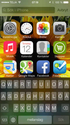 iOS 7 Spotlight-search