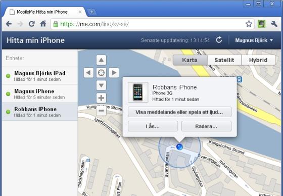 hitta min iphone online